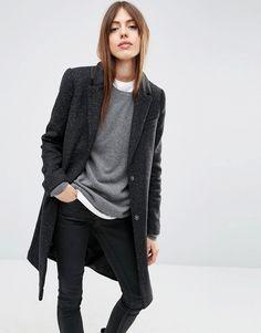 ASOS - Manteau slim en laine mélangée à poche fantaisie