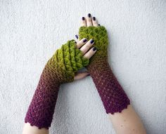 Fingerless mittens - green purple ombre spring Accessories. They look like artichokes. ^~^