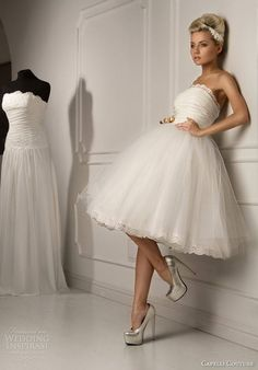 The short wedding gown is what I think I'll wear if we get married in the summer.
