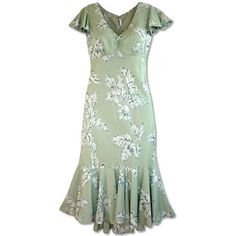Long, Dress, Hawaiian - Ulu Green Hawaiian Pauahi Dress