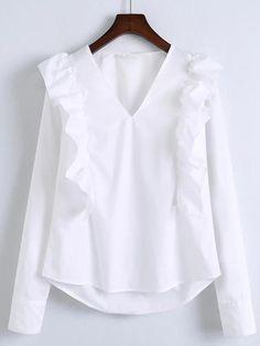 Shop White V Neck Ruffle Trim Buttoned Cuff Blouse online. SheIn offers White V Neck Ruffle Trim Buttoned Cuff Blouse & more to fit your fashionable needs. Hijab Fashion, Fashion Outfits, Modelos Plus Size, Frill Tops, Stylish Dress Designs, Blouse And Skirt, Ruffle Blouse, White V Necks, Mode Inspiration