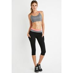 Forever 21 Forever 21 Women's  Colorblock Yoga Capri Leggings ($18) ❤ liked on Polyvore featuring activewear, activewear pants, yoga activewear, forever 21 and forever 21 activewear