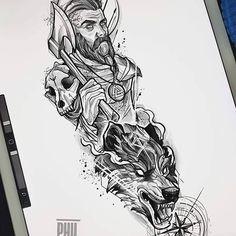 Hangodi János (@hangodijanos) • Instagram-fényképek és -videók Half Sleeve Tattoo Stencils, Half Sleeve Tattoos Sketches, Half Sleeve Tattoos For Guys, Half Sleeve Tattoos Designs, Tattoo Sketches, Viking Tattoo Sleeve, Lion Tattoo Sleeves, Forearm Sleeve Tattoos, Viking Tattoos
