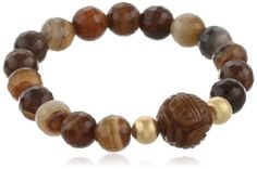 Brown and Cream Color Faceted Dyed Agate with Brown Tone Marble Carved Center Bead Stretch Bracelet 75 ** You can get more details by clicking on the image. (This is an affiliate link and I receive a commission for the sales)