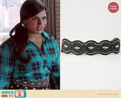 Mindy's beaded belt on The Mindy Project.  Outfit Details: http://wornontv.net/37439/ #TheMindyProject