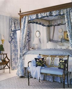Beautiful blue and white bedroom with canopy bed. Blue Rooms, White Rooms, White Bedroom, Dream Bedroom, Floral Bedroom, White Canopy, Pretty Bedroom, White Walls, Beautiful Bedrooms