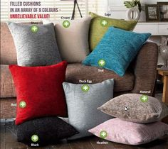 Velvety Chenile Cushions- Just £6 Each #homeOAH  Join my group https://www.facebook.com/groups/openAH/ for exclusive content, special offers & more great bargains  Hidden Zipper. Cover and cushion 100% polyester. Cover is machine washable.  Size 45 x 45cm  Available colours- Silver, Cream, Sage, Teal, Red, Duck Egg, Black, Natural or Heather.  Just £6 Each  Free Local delivery, Sheringham, Cromer or Holt or £3.95 p&p