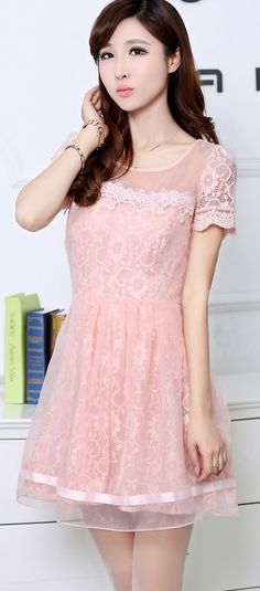 Elegant Korean Lace Dress Short Sleeve YRB0041