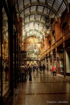 Covered shopping arcade in Leeds, West Yorkshire, England Leeds England, Yorkshire England, England And Scotland, West Yorkshire, Cool Places To Visit, Places To Travel, Places To Go, Leeds City, Chapelle