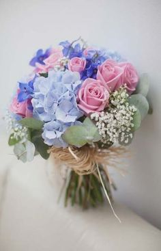 Hottest 7 Spring Wedding Flowers to Rock Your Big Day---pale blue hydrangeas, pink roses, baby breath and eucalyptus wedding flowers, spring wedding bouquet, rustic weddings Purple Wedding Bouquets, Purple Wedding Flowers, Blue Bouquet, Bridal Bouquets, Bouquet Of Flowers, Hydrangea Bridal Bouquet, Boquette Wedding, Floral Wedding, Wedding Blue
