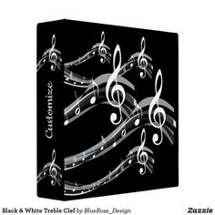 Black & White Treble Clef 3 Ring Binder Binder Inserts, 3 Ring Binders, Treble Clef, Binder Design, Custom Binders, Christmas Card Holders, Unique Weddings, Keep It Cleaner