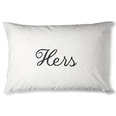 THE FINE COTTON COMPANY Hers black embroidered pillow case
