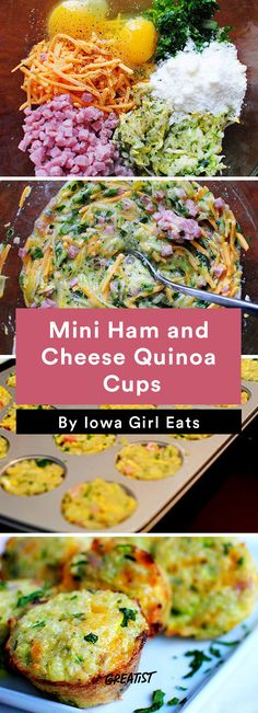 3. Mini Ham and Cheese Quinoa Cups #healthy #breakfast #recipes http://greatist.com/eat/healthy-breakfast-cup-recipes-to-fuel-your-mornings