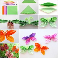 Here is a nice tutorial on how to easily fold DIY paper butterfly. A folded paper butterfly is really nice , easy, and fun to make. You searched for DIY Easy Folded Paper Butterflies - i Creative Ideas DIY Easy Folded Paper Butterflies, even children can Diy Origami, Origami Butterfly Easy, Useful Origami, Butterfly Crafts, Origami Tutorial, Origami Mobile, Butterfly Kids, Origami Folding, Butterfly Design