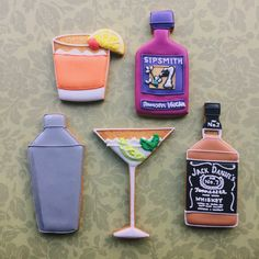 Hand-iced #cocktail #biscuits created by artists in #London.