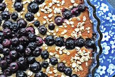 Oatmeal cake with blueberries