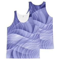 Blue fractal flowers All-Over print tank top