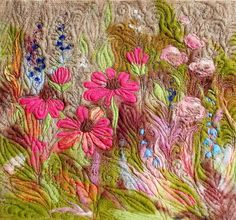 Beautiful flower meadow! This picture will look great in any interior .    This is an original 3d needle felted and embroidered picture with size of