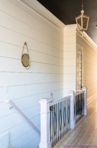 Addison's Wonderland: hallway-white-walls-shiplap-black-ceiling-alabaster-inkwell-lantern-chateau-blue-door-stardew-uncertain-grey-whitewashed-hardwood-flooring-11-of-15 Lady Cave, Woman Cave, Stair Walls, Stairs, Foyer, Entryway, Hardwood Floors, Flooring, Black Ceiling