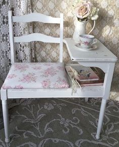 A personal favorite from my Etsy shop https://www.etsy.com/listing/265688468/shabby-chic-gossip-bench-telephone