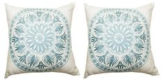 One Kings Lane - Double Up - S/2 Medallion 18x18 Pillows, Blue