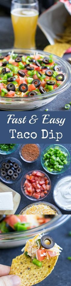 This Easy Taco Dip belongs on your permanent party menu! Make everything ahead and assemble it at the last minute. Ideal for a crowd!