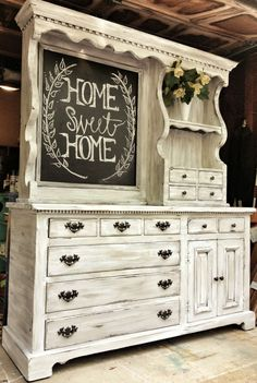 This is an old pine hutch that once had a mirror. We painted…