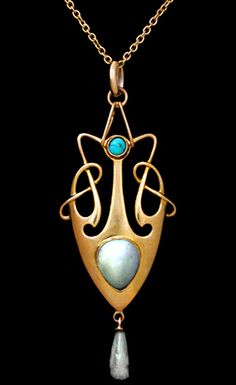 This is not contemporary - image from a gallery of vintage and/or antique objects. HENRY CHARLES FREEMAN (Importer)  A 9 ct gold pendant set with a central mother-of pearl plaque, a small turquoise,  and with a pearl drop.
