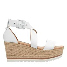 Chic and uncomplicated, our Zaide espadrille wedge sandal features a crisscross ankle strap and a sporty platform bottom Espadrille Sandals, Wedge Sandals, Espadrilles, Summer Shoes, White Leather, Ankle Strap, Spring Summer, Platform, Footwear