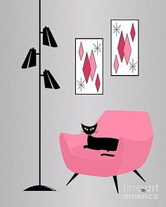 Pink 2 on Gray Wall Art, Canvas Prints, Framed Prints, Wall Peels Mid Century Modern Art, Mid Century Art, Retro Art, Vintage Art, Modern Prints, Mid-century Modern, Flat Design, Black Cat Art, Black Cats