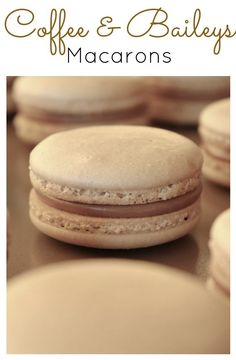 The perfect drink combination gets transformed into a macaron. Coffee flavoured cookies with a Baileys Milk Chocolate Ganache. Macarons, Coffee Macaroons, Macaron Cookies, Coffee Cookies, French Macaroons, Macaron Flavors, Macaron Recipe, Just Desserts, Delicious Desserts