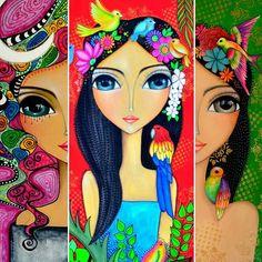 And videos mixed media faces, composition art, deco mesh, paint party, mexi Art Pop, Frida Art, Composition Art, Indian Folk Art, Indian Art Paintings, Bullet Journal Art, Cute Cartoon Wallpapers, Whimsical Art, Cute Art