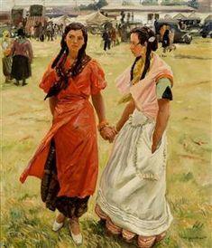 Romany Gypsy girls at Ascot races by Dame Laura Knight Gypsy Girls, Leila, Knight Art, Edouard Manet, Camille Pissarro, Edgar Degas, Ballet, Paul Cezanne, Art Uk