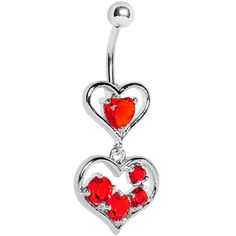 Red Gem Two Hearts Full Belly Ring | Body Candy Body Jewelry #bodycandy
