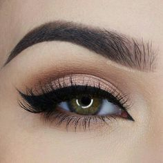 Natural base makeup look Everyday wear, brown shades, light, neutral, winged eyeliner to complete the look, quick and simple