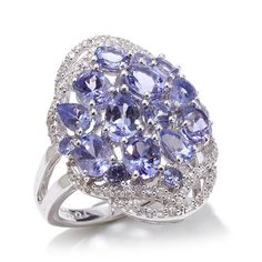 """Colleen Lopez """"At Last My Love"""" 3.41ctw Tanzanite and White Zircon Sterling Silver Cluster Ring"""