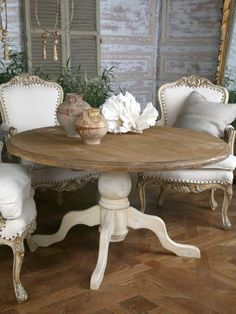 Shabby chic dining room ideas décor colors furniture and accents that characterize a Shabby Chic design along with a handful of pictorial examples - March 03 2019 at Shabby Chic Dining Chairs, Dining Room Table Decor, Shabby Chic Furniture, Shabby Chic Decor, Room Decor, Dining Tables, Shabby Chic Kitchen Table, Bedroom Furniture, Furniture Ideas