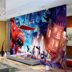 Custom Cartoon Movie Wallpaper Big hero Photo Wallpaper Baymax Wall Mural Boys Childrens room Silk Art Room Decor Bedroom Living room Home