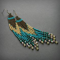 Fringe seed bead earrings with czech glass beads  by Anabel27shop