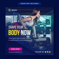 Graphic Design Flyer, Flyer Design, Web Banner, Banner Template, Fitness Flyer, Instagram Banner, Social Media Template, Design Tutorials, Gym Workouts
