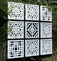 Square Off    Bring wall art outside for a breath of fresh air. Hang these geometric fretwork panels for an instant contemporary upgrade, or simply to mask unsightly cinderblock walls.