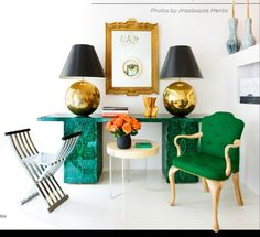 malachite and green // brass lamps, big brass lamps, console, side table, landing pad, green armchair, tufted green chair, bench, x bench