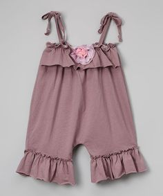 Look at this #zulilyfind! Purple Shoulder-Tie Bubble Romper - Infant, Toddler & Girls #zulilyfinds
