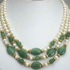 Projeto original de alta qualidade 3 linhas 7-8mm natural white pearl beads contas verdes colar de presente elegante mãe jóias 17-19 polegada MY4783