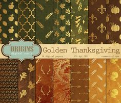 Thanksgiving Digital Paper - Gold Autumn Patterns Digital Paper Pack Gold foil clipart texture backgrounds instant download commercial use OriginsDigitalCurio 4.20 USD