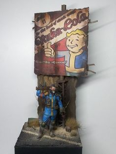 "By Peter ""Yoshi"" Müller, and pays awesome homage to Fallout 4. 1/24 scale (75mm scale) #Post_Apocalyptic #figure_model #vignette #diorama #wasteland - Frontline Gaming"