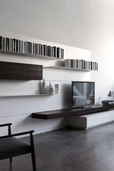 Wall-mounted storage wall LOAD IT by Porro | #design Piero Lissoni