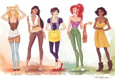Found this cool art pic of our fave Disney princess's.  Stuff they would be wearing today if they didn't want to wear their fancy outfits for the day.