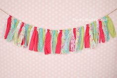 Pink Aqua Green Birthday Banner Birthday Bunting Nursery Banner Cake Smash Banner Shabby Chic Fabric Banner Rag Tie Photography Backdrop by ThePickledPeanut on Etsy