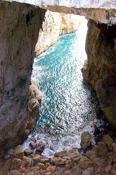 The natural sea grotto of the Montagna Spaccata. Gaeta, Italy.